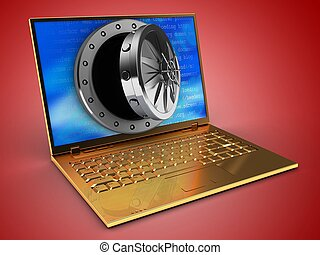 3, arany-, számítógép, és, kinyitott, boltozat, ajtó