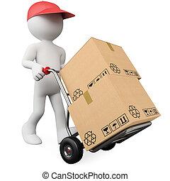 3, arbejder, skubbe, en, hånd lastbil, hos, bokse