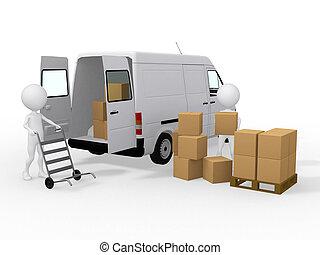 3, arbejdere, lastning, bokse, til, en, godsvognen