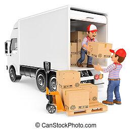 3, arbejdere, losse, bokse, af, en, lastbil