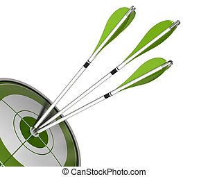 3 arrows hitting the center of a green target 3d render...