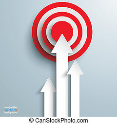 White arrows with red target on the grey background.