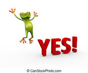 3, béka, igen, boldog, sikeres, ugrás