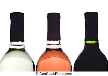 3 backlit wine bottles