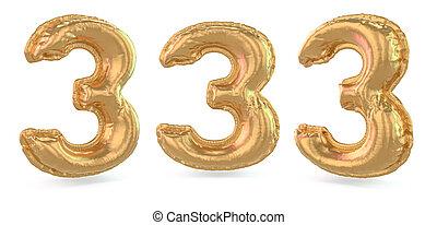 3., balloon, arrière-plan., nombre, signe., numérique, or, 3d, gonflable