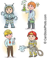3, bambini, professione