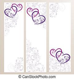 3 Banner mit Ornamenten und Herzen