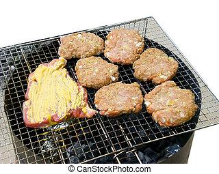 3, barbecue, hamburgers