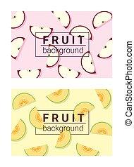 3, barwny, tło, owoce