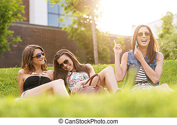 3 Beautiful woman feels good in the grass