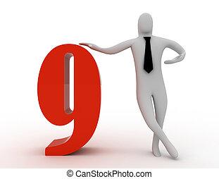 3, befolyás, kilenc, szám, ember