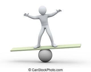3, bemanna balansera, på, boll