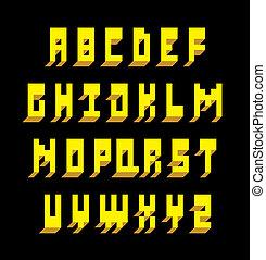 3, betűtípus, type., vektor, abc