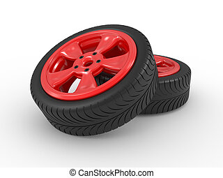 3, bil, hjul