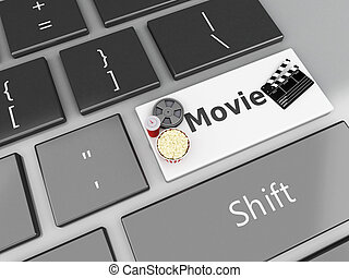 3, bio, clapperen stiger ombord, popcorn, och, filma rullen, på, dator, keyboard.