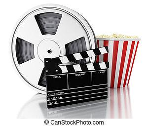 3, bio, kläpp, filma rullen, och, popcorn.