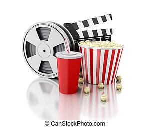 3, bio, kläpp, filma rullen, popcorn, och, drink.