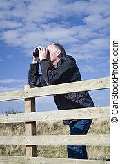 3, birdwatching, man