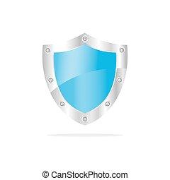 3, blå, garanti, skjold, på, en, hvid baggrund