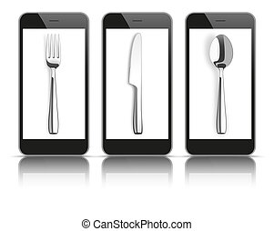 3 Black Smartphones Mirror Knife Fork Spoon