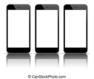 3 Black Smartphones Mirror Mockup