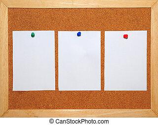 3, blanco, papel, fijado, en, corkboard