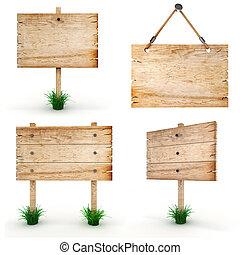3, blank, af træ, tegn planke, -, pakke