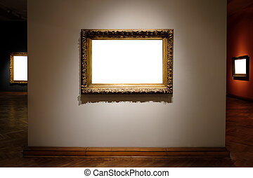 3 Blank hanging individual frame in an art gallery white background