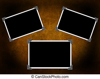 3 Blank photo frames on background