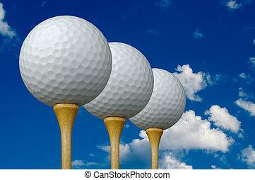 3, bolas, tees golfe, &