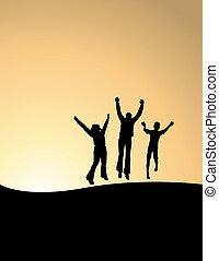 3, boldog, emberek