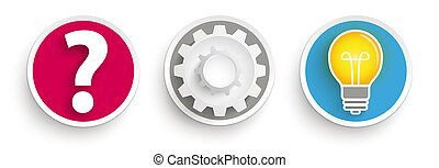 3, bottoni, domanda, ruota dentata, idea, bulbo
