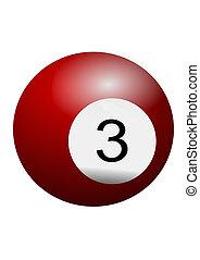 3, boule billard, non