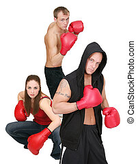 3 boxing people