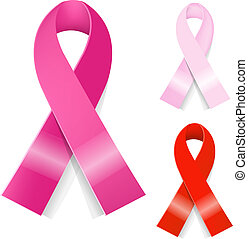Breast Cancer Ribbon - 3 Breast Cancer Ribbon, Isolated On...