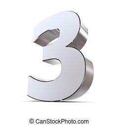3, brilhante, número