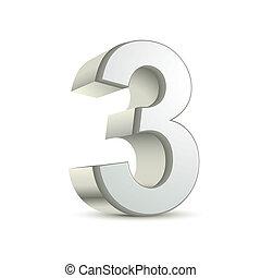 3, brillant, argent, nombre