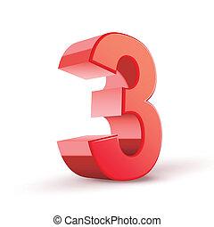3, brillante, número, rojo, 3d