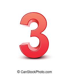 3, brillante, número, rojo