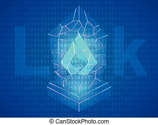 3 btc - Banner, poster crypt currency symbol lisk on blue...