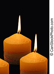 3 burning candles - 3 Colourful Buring candles, isolated on...
