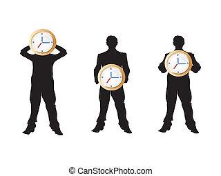 3 businessman holding the clock
