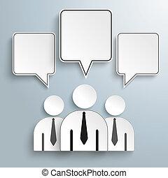3 Businessmen Quadratic Speech Bubbles