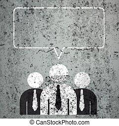 3 Businessmen Rectangle Speech Bubble Concrete