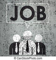 3 Businessmen Speech Bubble Concrete Job