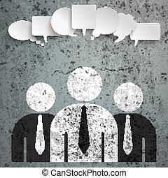 3 Businessmen Speech Bubbles Concrete