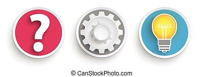 3 Buttons Question Gear Wheel Idea Bulb