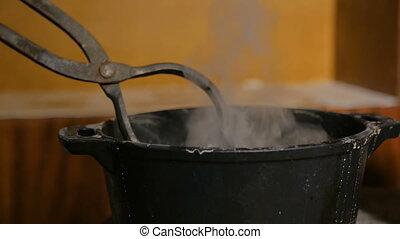 3, céramique, potier, chaud, shots., grande tasse, extinction