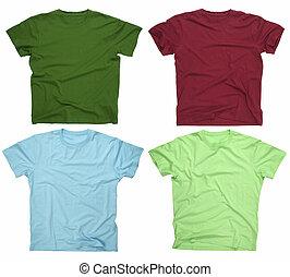 3, camisetas, em branco