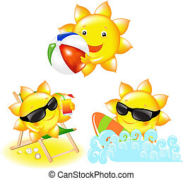 3 Cartoon Suns, Isolated On White Background, Vector Illustration